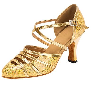 Dame Moderne sko / Ballett Syntetisk Cross Strap Høye hæler Strå Kubansk hæl Kan spesialtilpasses Dansesko Gull / Ytelse