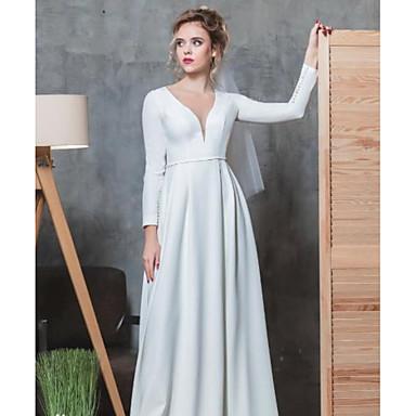 Γραμμή Α Λαιμόκοψη V Μακρύ Ελαστικό Σατέν Μακρυμάνικο Φορέματα γάμου φτιαγμένα στο μέτρο με Χάντρες 2020
