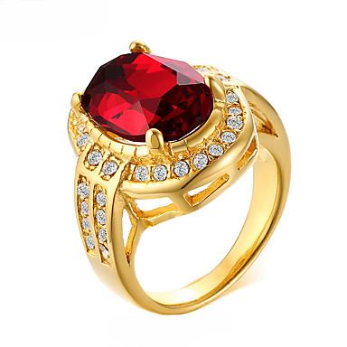billige Motering-Dame Ring Syntetisk Ruby 1pc Gull Strass Titanium Stål Geometrisk Form Luksus Bohemsk Mote Bryllup Fest Smykker geometriske Kjæreste Heldig