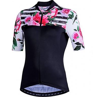 21Grams Άνθινο / Βοτανικό Γυναικεία Κοντομάνικο Φανέλα ποδηλασίας - Ροζ Ποδήλατο Αθλητική μπλούζα Μπολύζες Αναπνέει Ύγρανση Γρήγορο Στέγνωμα Αθλητισμός Τερυλίνη Ποδηλασία Βουνού Ρούχα / Μικροελαστικό