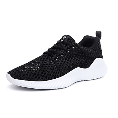 Homens Sapatos Confortáveis Com Transparência / Tecido elástico Verão Esportivo Tênis Corrida Não escorregar Branco e Preto / Branco / Cinzento / Atlético