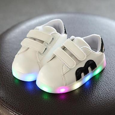 Gutt LED / Komfort / Lysende sko PU Treningssko Små barn (4-7år) Svart / Gull / Rød Vår