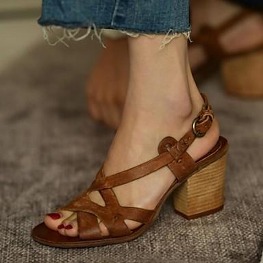 preiswerte Modische Sandalen-Damen Sandalen Blockabsatz PU Sommer Grau / Braun / Mandelfarben