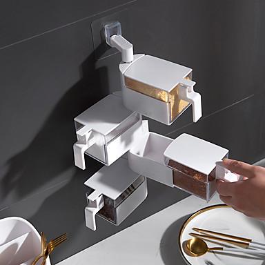 hvit fire-lags kjøkken veggmontert krydder boks fri stans sukker salt msg krysse boks