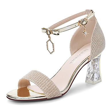 voordelige Damessandalen-Dames Sandalen Sexy Schoenen Synthetisch Zoet / minimalisme / Lucite Heel Lente & Herfst / Zomer Zwart / Goud