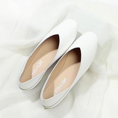 levne Dámské boty s plochou podrážkou-Dámské Bez podpatku Rovná podrážka Oblá špička PU Léto Černá / Mandlová / Bílá