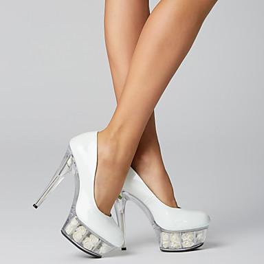 ราคาถูก ส้นรองเท้า-สำหรับผู้หญิง รองเท้าส้นสูง ส้น Stiletto / Platform ผ้าตาหมากรุก หนังสิทธิบัตร รองเท้าคลับ / ส้น Lucite ฤดูใบไม้ผลิ / ฤดูร้อน สีดำ / ขาว / แดง / งานแต่งงาน / พรรคและเย็น / แต่งตัว / พรรคและเย็น