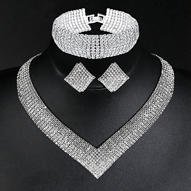 cheap Jewelry Sets-Women's Necklace Earrings Bracelet Tennis Chain Stylish Luxury Classic European Elegant Imitation Diamond Earrings Jewelry Silver For Wedding Party Engagement Daily Promise 1 set