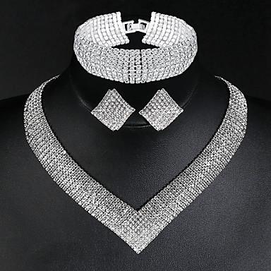levne Dámské šperky-Dámské Náhrdelník Náušnice Náramek Tenisový řetězec stylové Luxus Klasické Evropský Elegantní Umělé diamanty Náušnice Šperky Stříbrná Pro Svatební Párty Zásnuby Denní Slib 1 sada