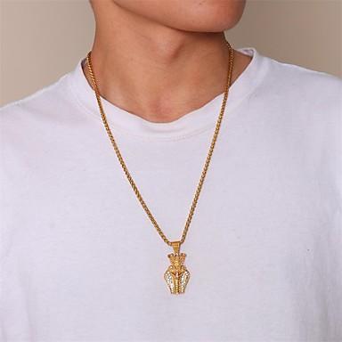 povoljno Modne ogrlice-Muškarci Kubični Zirconia Ogrlice s privjeskom Geometrijski Radost Moda Titanium Steel Zlato 60 cm Ogrlice Jewelry 1pc Za Dar Dnevno