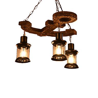 βιομηχανικός πολυέλαιος 3 φωτιστικά κρεμαστά φωτιστικά ρουστίκ κρέμονται φώτα ρυθμιζόμενο ύψος περιβάλλοντος φως βαμμένα φινιρίσματα ξύλο