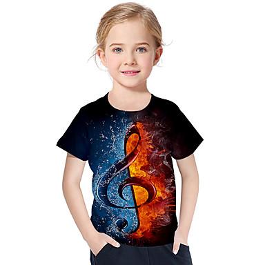 cheap Girls' Tops-Kids Toddler Girls' Active Basic Geometric Print Color Block Print Short Sleeve Tee Black