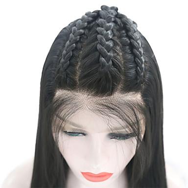 Συνθετικές μπροστινές περούκες δαντέλας Ίσιο Με μικρές μπούκλες Δαντέλα Μπροστά Περούκα Μακρύ Μαύρο Συνθετικά μαλλιά 18-26 inch Γυναικεία Ρυθμιζόμενο Ανθεκτικό στη Ζέστη Πάρτι Μαύρο