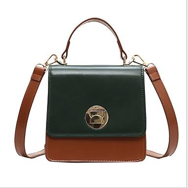 Γυναικεία Κουμπί PU Τσάντα χειρός Μαύρο / Καφέ / Πράσινο του τριφυλλιού