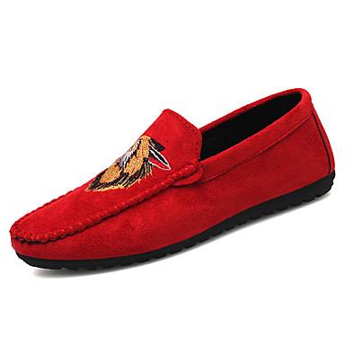 Ανδρικά Παπούτσια άνεσης Δερμάτινο Καλοκαίρι Καθημερινό Μοκασίνια & Ευκολόφορετα Περπάτημα Αναπνέει Μπότες στη Μέση της Γάμπας Μαύρο / Κόκκινο