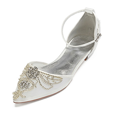 cheap Wedding Shoes-Women's Wedding Shoes Plus Size Flat Heel Pointed Toe Basic Wedding Party & Evening Rhinestone Crystal Solid Colored Satin Mesh Summer White / Black / Champagne