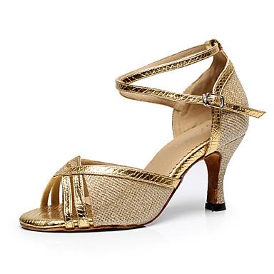preiswerte Schuhe und Taschen-Damen Tanzschuhe Kunststoff Schuhe für den lateinamerikanischen Tanz Farbaufsatz Absätze Keilabsatz Gold