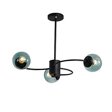 sputnik ημιπλήρο φωτισμό φωτισμού περιβάλλοντος φως βαμμένα φινιρίσματα φώτα οροφής μετάλλων 3 φώτα πολυέλαιος σφαίρα γυαλί σκιά απλό φωτισμό μενταγιόν μαύρο