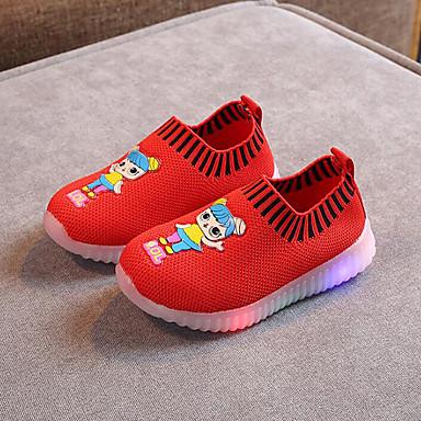 Jente LED / Komfort / Lysende sko Flyknit En pedal Små barn (4-7år) Svart / Rød / Rosa Sommer / Gummi