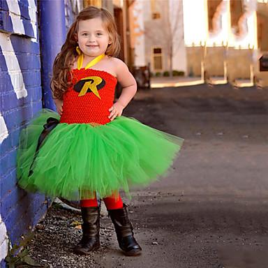 cheap Baby & Kids-Kids Toddler Girls' Active Cute Black & Red Letter Backless Mesh Patchwork Sleeveless Knee-length Dress Green