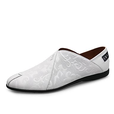Ανδρικά Παπούτσια άνεσης Νάπα Leather Ανοιξη καλοκαίρι Δουλειά / Καθημερινό Μοκασίνια & Ευκολόφορετα Μαύρο / Λευκό