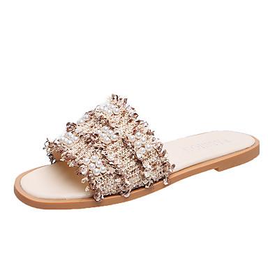 voordelige Damespantoffels & slippers-Dames Slippers & Flip-Flops Platte hak Open teen PU Zomer Zwart / Roze / Khaki