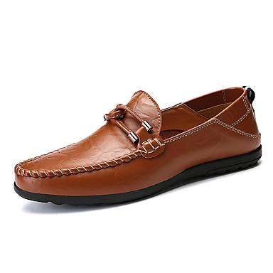 Homens Sapatos Confortáveis Couro Ecológico Primavera Verão Formais / Colegial Mocassins e Slip-Ons Respirável Preto / Amarelo / Marron / Ao ar livre