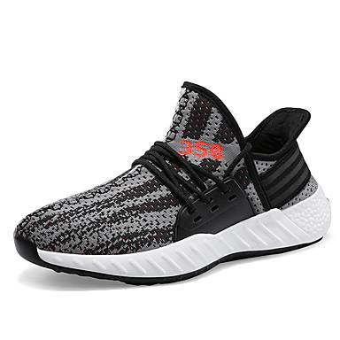 Ανδρικά Νεωτεριστικά παπούτσια Ελαστικό ύφασμα / Φουσκωτό πηνίο Ανοιξη καλοκαίρι Καθημερινό / Κολεγιακό Αθλητικά Παπούτσια Τρέξιμο / Περπάτημα Αναπνέει Ριγέ Λευκό / Μαύρο / Γκρίζο