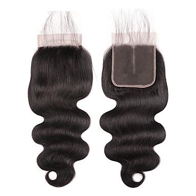 Laflare Βραζιλιάνικη 4x4 Κλείσιμο Κυματιστό Δωρεάν Μέρος / Μεσαίο τμήμα / 3 Μέρος Ελβετική δαντέλα Φυσικά μαλλιά Γυναικεία Γυναικεία / επέκταση / Η καλύτερη ποιότητα Χριστούγεννα / Halloween