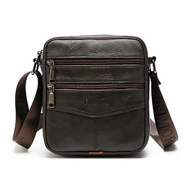 cheap Crossbody Bags-Men's Zipper Cowhide Crossbody Bag Brown / Black / Coffee