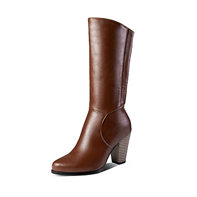 Γυναικεία Μπότες Κοντόχοντρο Τακούνι Στρογγυλή Μύτη PU Μπότες στη Μέση της Γάμπας Κλασσικό Φθινόπωρο / Χειμώνας Λευκό / Μαύρο / Καφέ