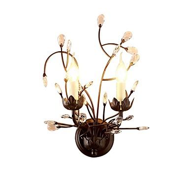 amerikansk land vegg lampe krystall 2 lys vegg sconces innendørs led vegg lamper dobbel lys vegg sconces for stue soverom