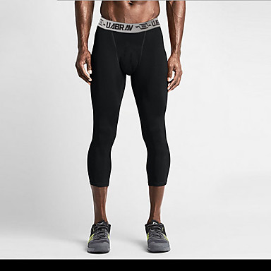 Herre Korte bukser til jogging sport 3/4 Tights Leggings Løp Aktiv trening Trening Lettvekt Fort Tørring Nettingtights Ensfarget Svart / Høy Elastisitet