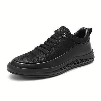 Ανδρικά Δερμάτινα παπούτσια Νάπα Leather Ανοιξη καλοκαίρι / Φθινόπωρο & Χειμώνας Αθλητικό / Καθημερινό Αθλητικά Παπούτσια Περπάτημα Μη ολίσθηση Μαύρο
