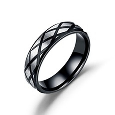 levne Pánské šperky-Pánské Dámské Band Ring Prsten Tail Ring 1ks Černá Nerez Titanová ocel Kulatý Základní Módní Dar Denní Šperky Cool