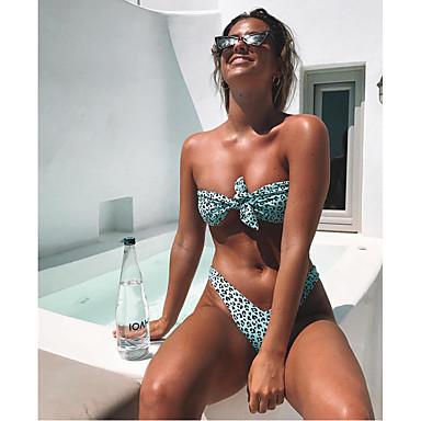Dame Sporty Grunnleggende Blå Rosa Bandeau G-streng Bikinikjole Badetøy - Leopard Sløyfe S M L Blå