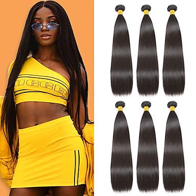 6 pakker Indisk hår Rett Ubehandlet Menneskehår 100% Remy Hair Weave Bundles Menneskehår Vevet Bundle Hair Hairextensions med menneskehår 8-28 tommers Naturlig Farge Hårvever med menneskehår Newborn