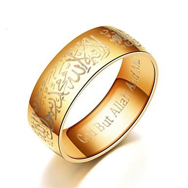 billige Motering-Herre Dame Band Ring Ring Tail Ring 1pc Svart Sølv Blå Titanium Stål Sirkelformet Grunnleggende Mote Gave Daglig Smykker Tro Bønn Kul
