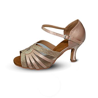 Dame Dansesko Sateng / Netting / Syntetisk Sko til latindans Paljett / Spenne / Strå Høye hæler Utsvingende hæl Kan spesialtilpasses Mandel / Trening