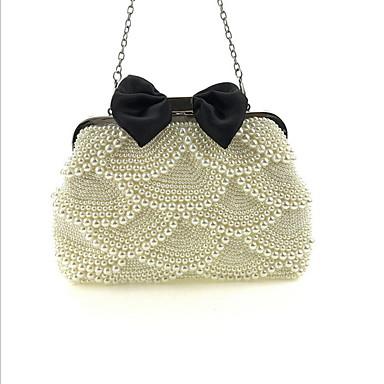 Γυναικεία Χάντρες / Αλυσίδα Πολυεστέρας Βραδινή τσάντα Λευκό