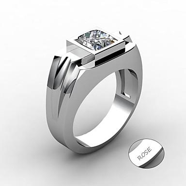 Εξατομικευμένη Προσαρμοσμένη Μπλε Cubic Zirconia Δαχτυλίδι Κλασσικό Δώρο Υπόσχεση Φεστιβάλ Geometric Shape 1pcs Ασημί