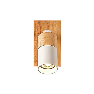 110 46 Led Wall Lamp Minimalist Sconce Wooden Adjule Reading Light Mounted Rotatable Simple Fixtures Mini Corridor Ceiling