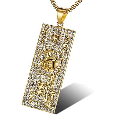 levne Pánské šperky-Pánské Bílá Kubický zirkon Náhrdelníky s přívěšky Geometrické Naděje Módní Titanová ocel Zlatá Bílá 56 cm Náhrdelníky Šperky 1ks Pro Dar Denní