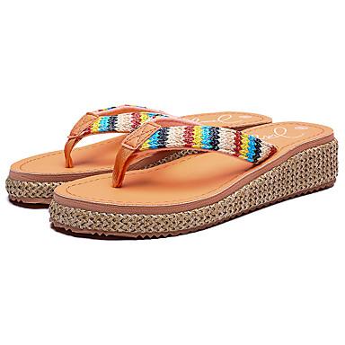 voordelige Damespantoffels & slippers-Dames Slippers & Flip-Flops Sleehak Open teen PU Informeel Wandelen Zomer Zwart / Oranje / Bruin