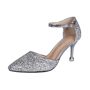 cheap Sculptural Heels-Women's Heels Stiletto Heel Pointed Toe PU / Synthetics Fall / Spring & Summer Gold / Silver