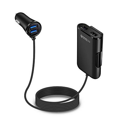 levne Auto Elektronika-auto nabíječka přední a zadní zadní klip qc3.0 rychlé nabíjení 4 usb porty mobilní telefon nabíječka černá