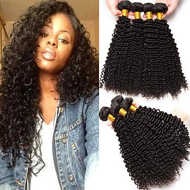 4 πακέτα Βραζιλιάνικη Kinky Curly Φυσικά μαλλιά Υφάνσεις ανθρώπινα μαλλιών 8-28 inch Υφάνσεις ανθρώπινα μαλλιών Επεκτάσεις ανθρώπινα μαλλιών / 8A / Kinky Σγουρό