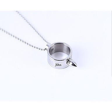 Εξατομικευμένη Προσαρμοσμένη Ζαφειρένιο Κρεμαστό Όνομα Κολιέ Τιτάνιο Ατσάλι Κλασσικό Χαραγμένο Δώρο Υπόσχεση Φεστιβάλ Geometric Shape 1pcs Ασημί / Χαρακτική με Λέιζερ