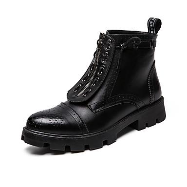 Ανδρικά Fashion Boots Φο Δέρμα Ανοιξη καλοκαίρι / Φθινόπωρο & Χειμώνας Καθημερινό / Βρετανικό Μπότες Μη ολίσθηση Μπότες στη Μέση της Γάμπας Μαύρο / ΕΞΩΤΕΡΙΚΟΥ ΧΩΡΟΥ / Μπότες Μάχης