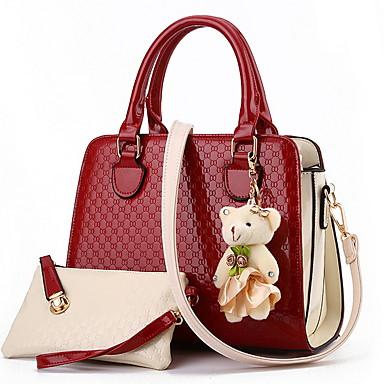 Γυναικεία Αρκούδα / Φερμουάρ PU Σετ τσάντα Συμπαγές Χρώμα 2 σετ Σετ τσαντών Μαύρο / Κρασί / Λευκό
